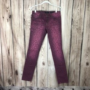 Jessica Simpson Pink Animal Print Skinny Jeans 27